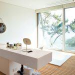 modern bathroom with hanex countertop