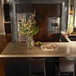 kitchen with hickory smoke countertops