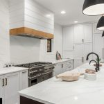 Kitchen with Hanex cascade countertops