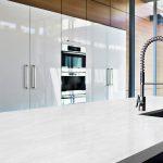 kitchen with hanex nublado solid surface countertop