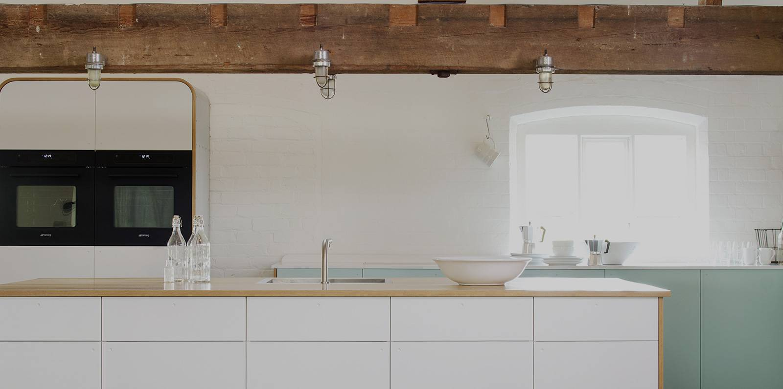 modern kitchen with himacs solid surface countertops