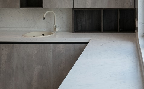 white meganite countertop with sink