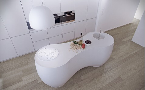 modern kitchen design with meganite solid surface countertop