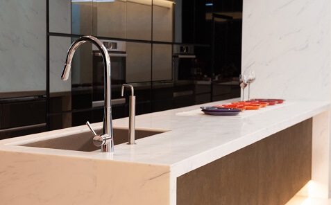 meganite solid surface kitchen countertop with sink