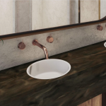 meganite double vanity and solid surface countertop in cattail