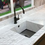 meganite solid surface countertops and kitchen sink with fancy edge