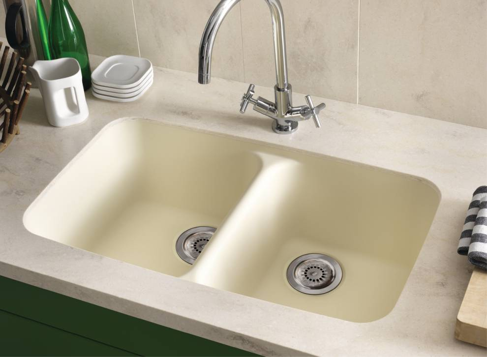 mid century modern corian double solid surface sink