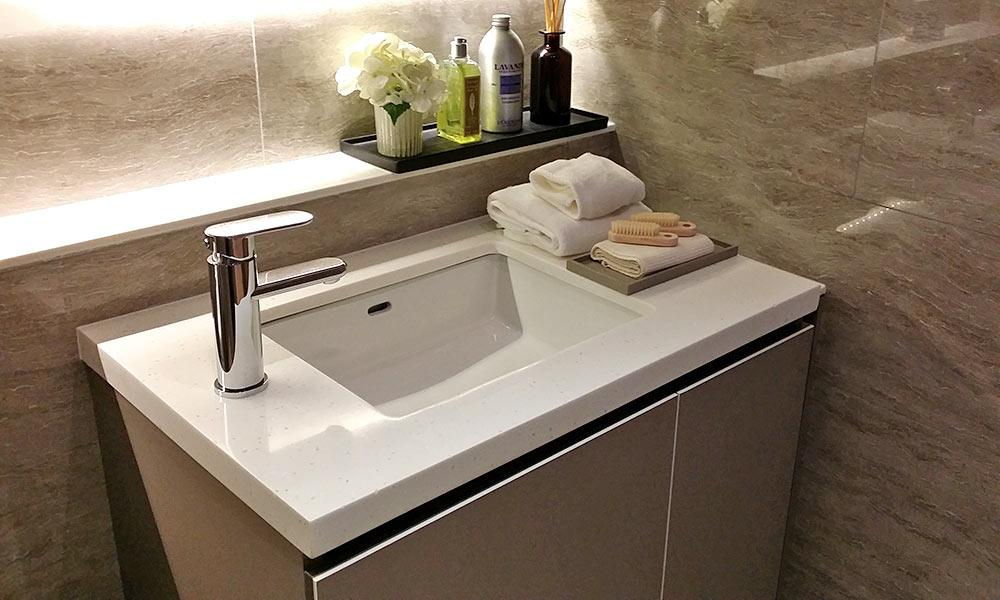 white hanex residential bathroom sink and countertop
