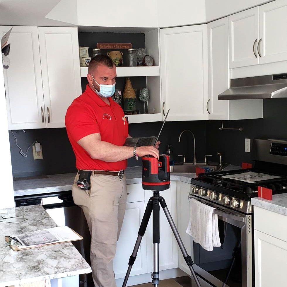 laser measuring for a countertop