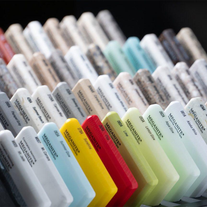 meganite solid surface countertop samples